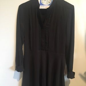 Black Ann Taylor dress w buttons & polka dot lace